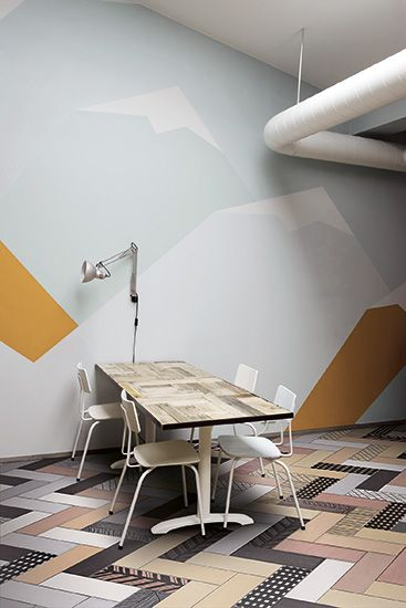 The flooring option is my favourite.  Take a traditional herringbone layout and compose it like a collage.  Mixing and matching is my favourite trend this summer! / ORNAMENTA / I love ceramica  / GAMMA DUE / mix-and-match