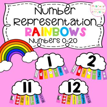 Number Representation Rainbows - Numbers 0-20: A fantastic way to learn or reinforce number representations of numbers 0-20. Use for displays, games or use the black line versions and print on colored paper to have the students create their own rainbows… a great practice activity or assessment! Why not add extra skills to the games by gluing the pieces on pegs and placing in a sensory bin - number sense, fine motor and sensory play all combined!!