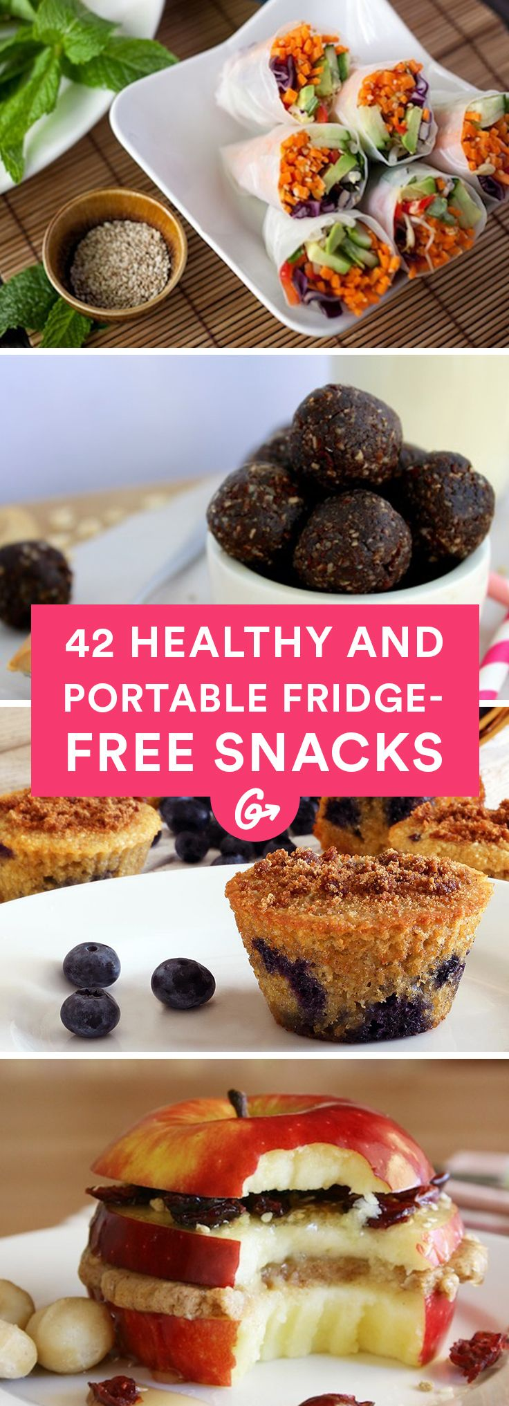 With a little preparation and the right ingredients, snack time can be healthy, tasty, and hassle-free. #healthy #snacks #recipes http://greatist.com/health/healthy-portable-fridge-free-snacks