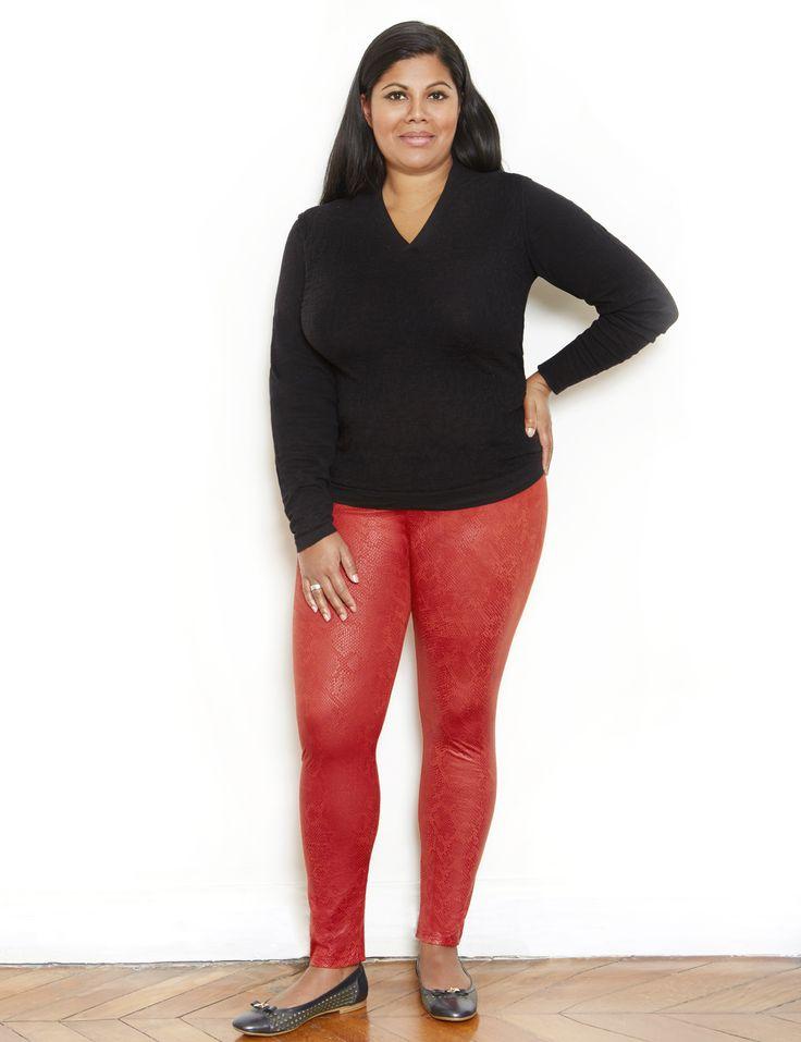 rote Legging in Übergrößen , Leggings für kurvenreiche