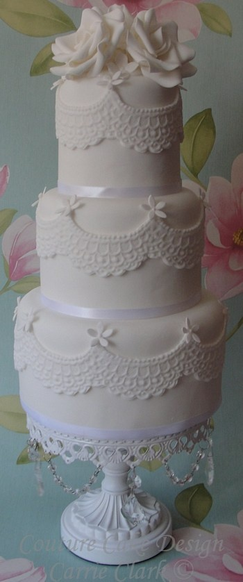 sweet lace wedding cake from Couture Cake Design