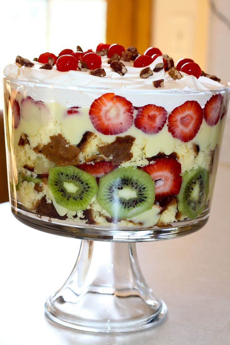 Easy Punch Bowl Cake~ Yellow Cake Mix, Instant Vanilla Pudding, Strawberries, Pineapple, Kiwi, Cool Whip Pecan pieces (optional) Maraschino Cherries