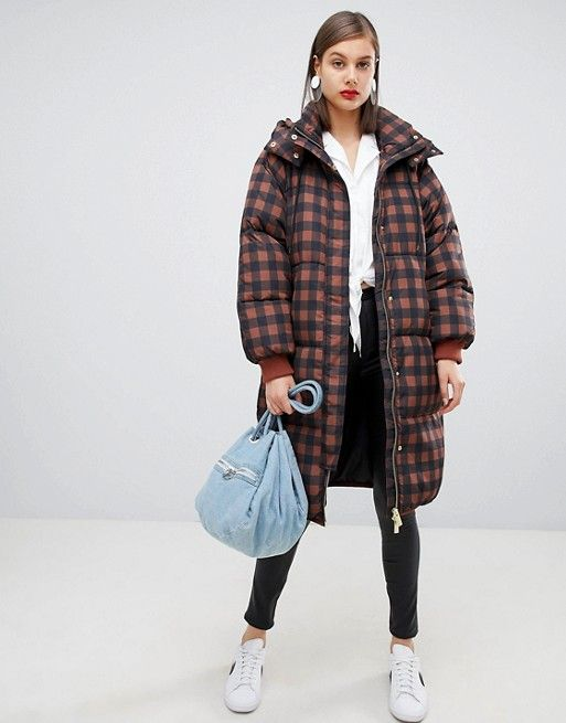 Moss Copenhagen oversized longline padded jacket in check