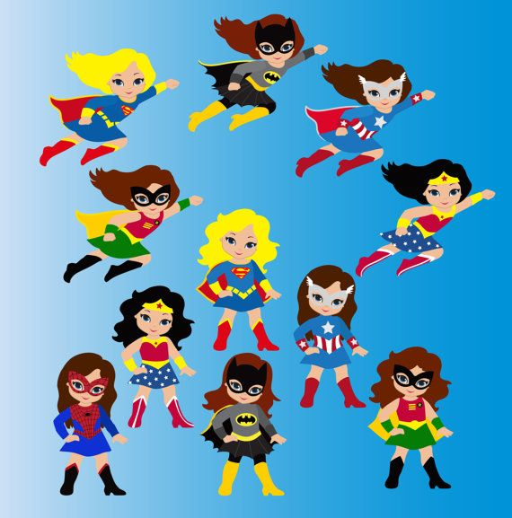 Girl Superhero Clip Art / Little Girls Superheroes / Supergirls Digital Clipart / Cute Super hero girls Clipart for commercial use