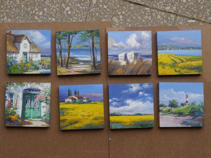 Eine Serie kleiner Ölgemälde -15x15cm- auf MDF gemalt. Norddeutsche und südliche Motive, kleine Erinnerungen zum Sammeln. www.ute-herrmann-kunstmalerin.de