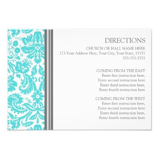 Wedding Direction Cards Aqua Grey Damask today price drop and special promotion. Get The best buyShoppingtoday easy to Shops  Purchase Online - transferred directly secure and trusted checkout...