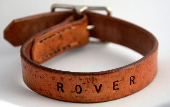 Personalized Leather Dog Collar Noiseless by SalukiFeathers, $43.00