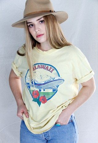 Vintage+70's+80's+Hawaii+Air+Aloha+Tee+Shirt+Hanes+Beefy+Tee