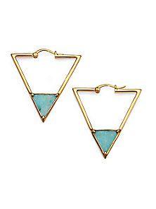 Elizabeth and James - Metropolis Amazonite Triangle Hoop Earrings