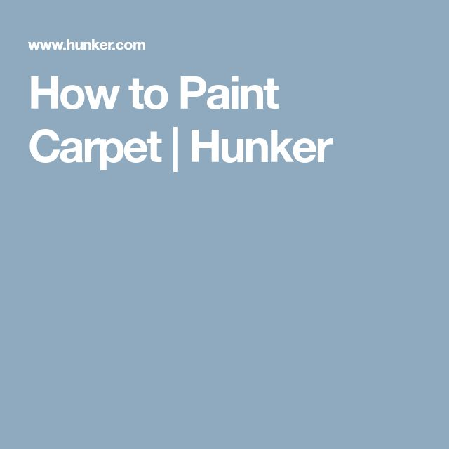 How to Paint Carpet | Hunker
