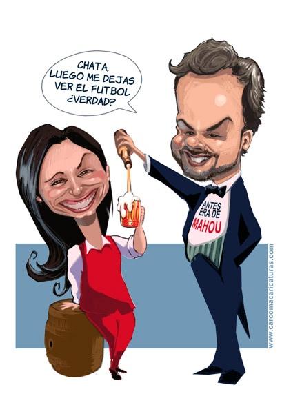 #Caricatura de negociación de #pareja en la #despedida de soltero. Negociating during de #bachelor party #caricature.