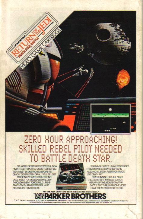 Atari Star Wars video game comic book ad.