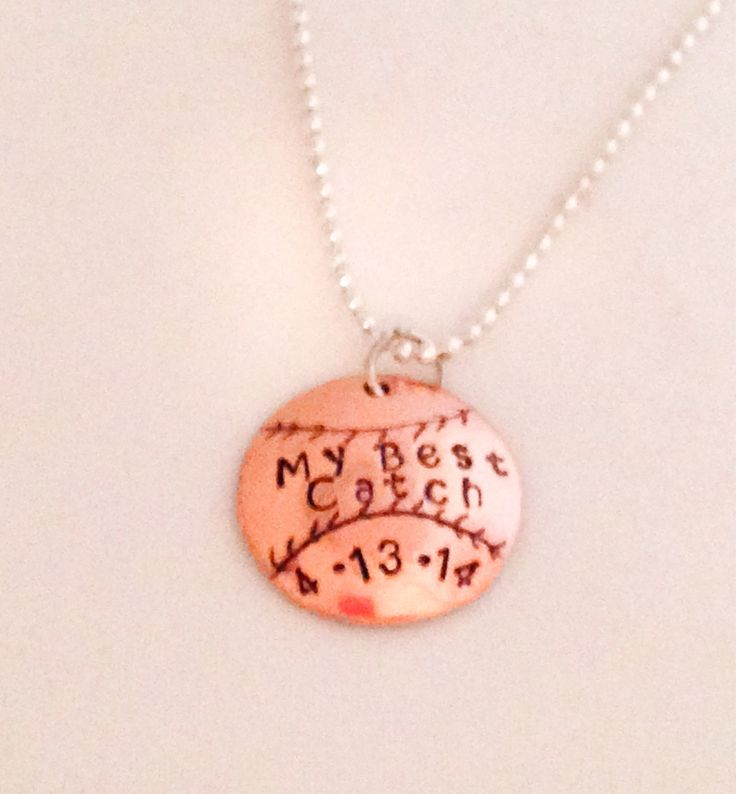 Personalized Baseball Charm Necklace in Copper by StampedWithHope
