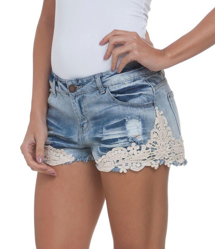 Short Feminino em Jeans com Renda Guipir - Lojas Renner