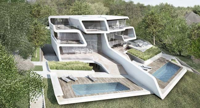 Küsnacht Villa is an unique futuristic house in Zurich, Switzerland. The villa was designed by Zaha Hadid Architects which including 2 dwellings within a unified whole