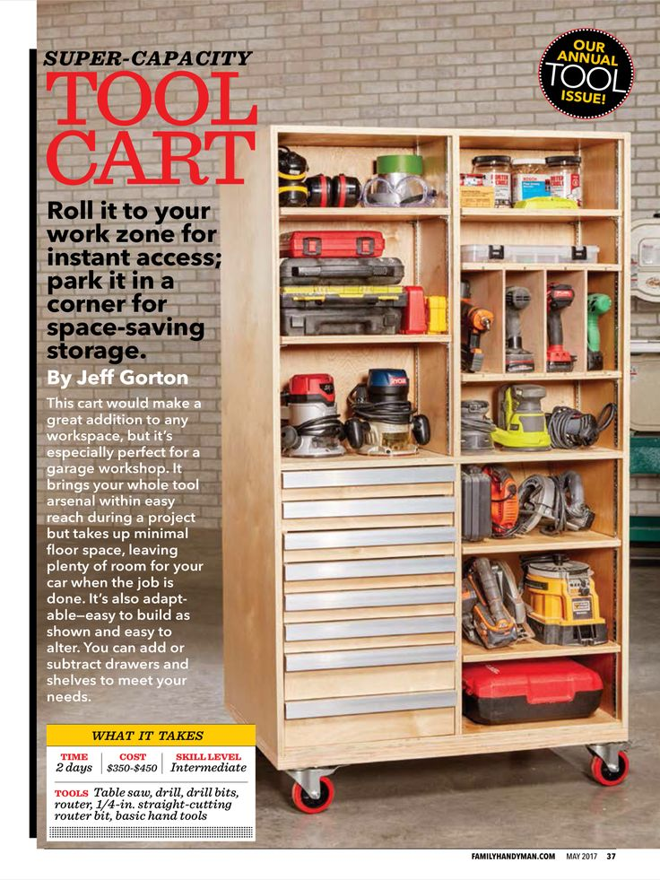 """Super-Capacity Tool Cart"" from Family Handyman, May 2017. Read it on the Texture app-unlimited access to 200+ top magazines."