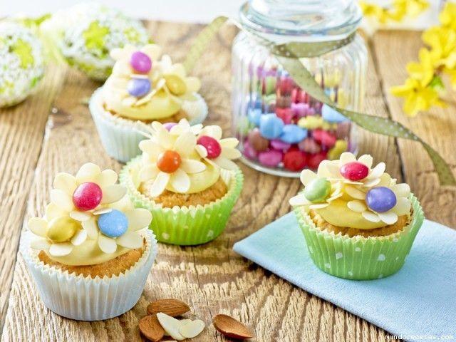 Receta de Cupcakes de flores de primavera