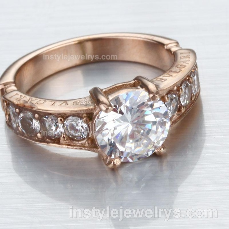bvlgari roundcut crystals ring in rose gold plated
