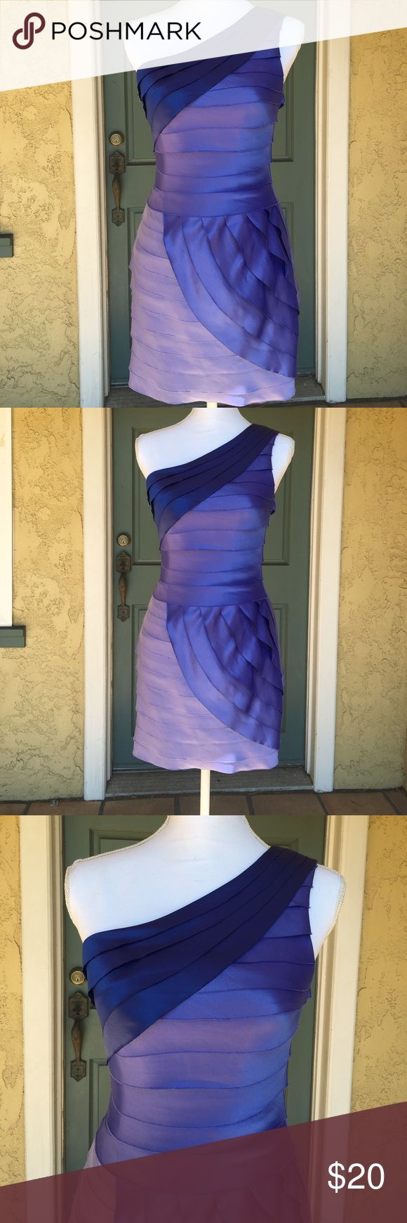 Silky Layered Purple one shoulder cocktail dress One shoulder layered silky dress. Beautiful lilac and dark purple. Forever 21, size 2. Forever 21 Dresses One Shoulder