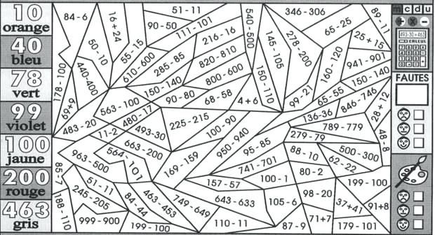 Image for coloriage magique soustraction sans retenue rb38 education pinterest math - Table d addition ce1 a imprimer ...