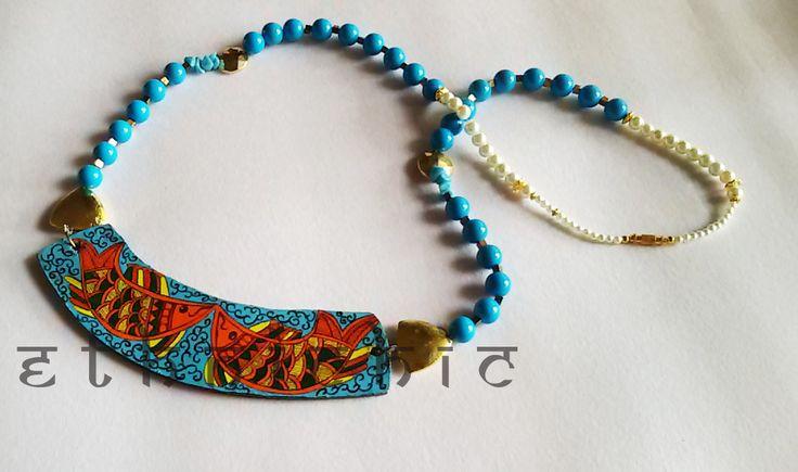 Hand painted Madhubani Fish Necklace