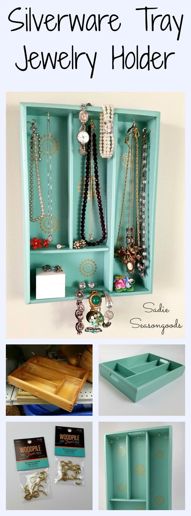 Looking to get your jewelry organized and displayed? Head to your local thrift store and pick up an old wooden silverware tray! It can be easily repurposed into a perfect and lovely holder for all things sparkly. Gotta love a thrift store upcycle DIY craft from #SadieSeasongoods
