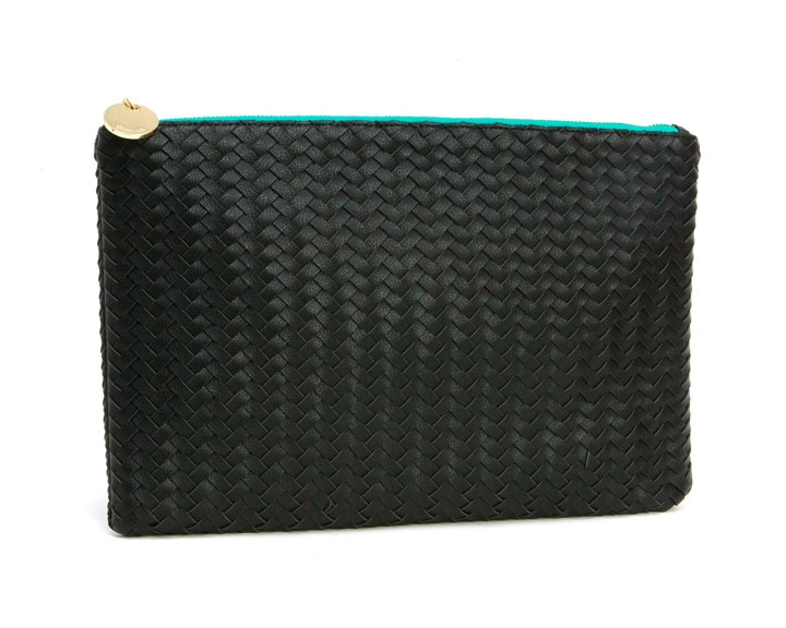 Portofino Zip Clutch in Black - Deux Lux // vegan