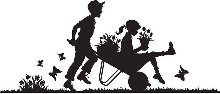 Boy with Girl in Wheel Barrel