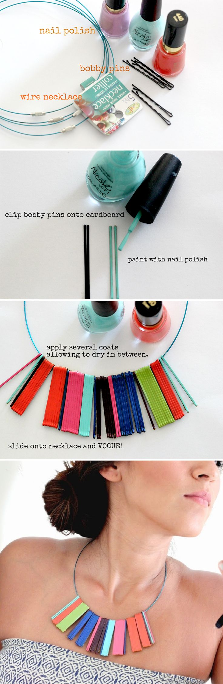 Easy Statement Necklace Tutorial - 16 Most Pinned DIY Nail Polish Crafts and Projects | GleamItUp