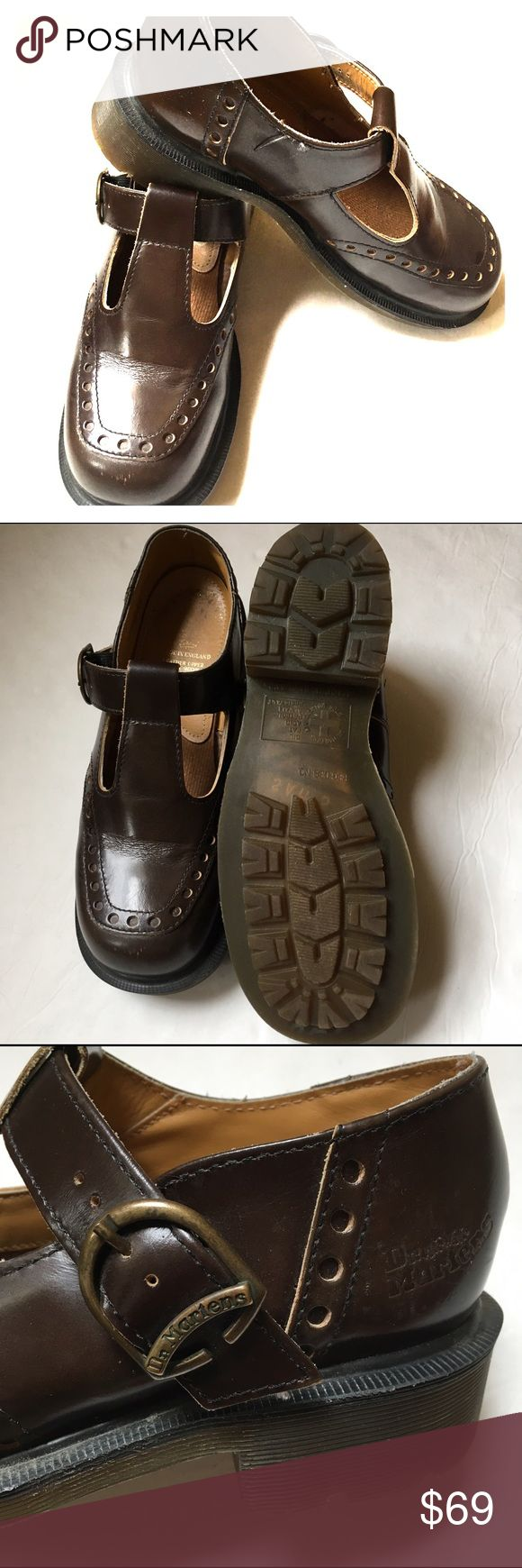 ⭐️ Dr. Martens brown shoes Excellent condition. Dark brown Mary Jane style with buckles on side.  Made in England. UK Size 5.  I am a true size 7 1/2 and it fits me perfect.  Leather upper air cushion man made soles. Dr. Martens Shoes