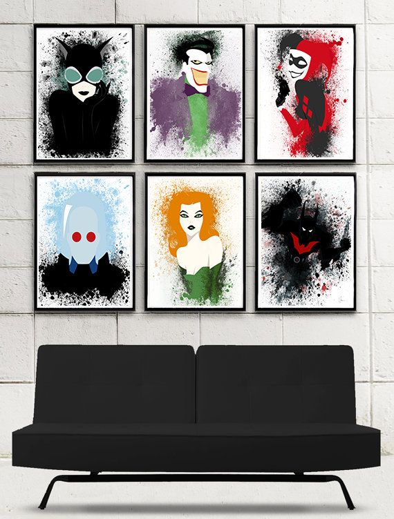 Original Batman Art Print Collection inspired by the Batman Beyond Series.  Package contains SIX individual Batman character posters. These will