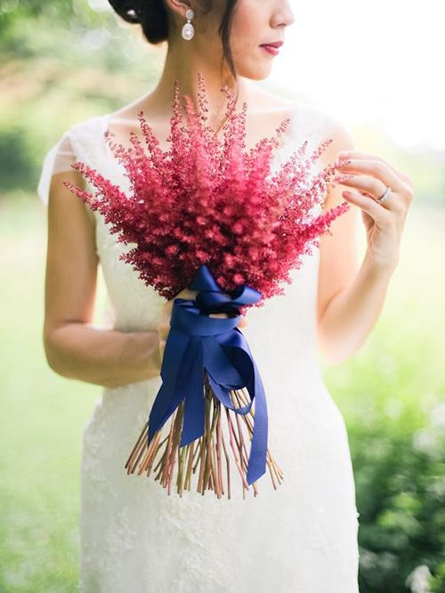 red astilbe bouquet   we ❤ this!  moncheribridals.com  #weddingbouquets