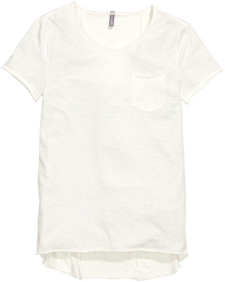 H&M - T-shirt with Chest Pocket - White - Men