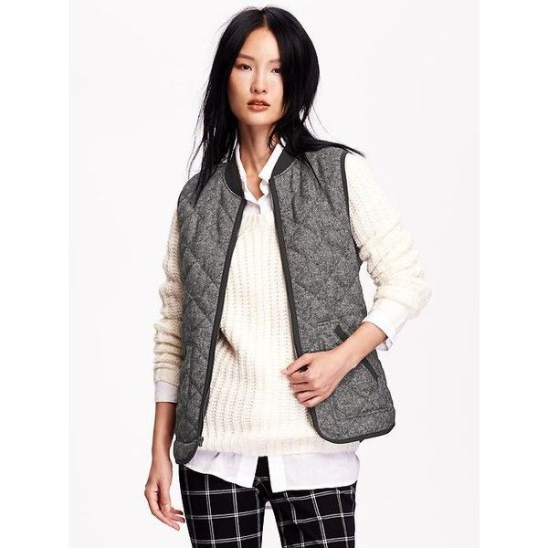 Old Navy Womens Quilted Herringbone Vest ($24) ❤ liked on Polyvore featuring outerwear, vests, hthr grey herringbone, old navy, quilted zip vest, old navy vest, vest waistcoat and zipper vest
