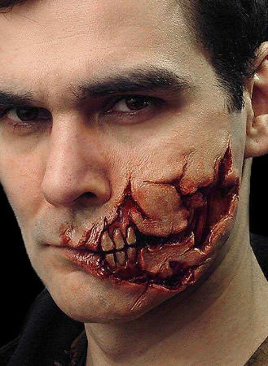 Zombie make up for Halloween --- super scary, and if done right, very realistic looking