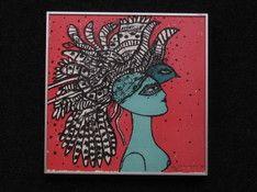 corneille--1922-2010--cobra--litho--femme-au-l-oiseau--handgesigneerd-54-300-