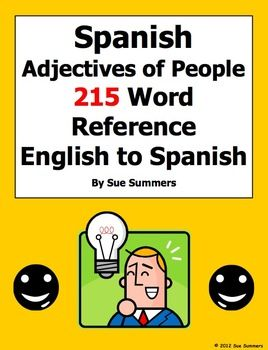 Spanish Adjectives of People Bilingual Reference by Sue Summers - 215 English to Spanish words. Spanish descriptive adjectives, Spanish grammar