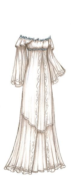 I'd really like for this to be my wedding dress. It's timeless, mystical, and simply beautiful. Only issue? It's a sketch of a LOTR dress for a doll. Maybe I can find someone to help me make this dream a reality.