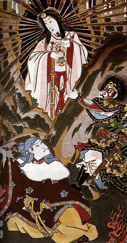 Utagawa Kunisada (1786-1865). Part of triptic Amaterasu Emerges from the Light. #japanpainting, #japan