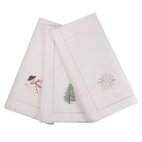 Embroidered Christmas Motif Napkins