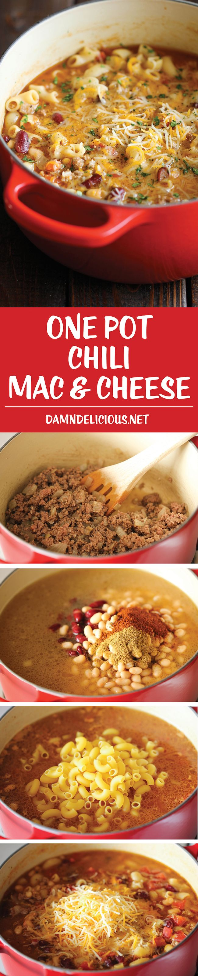 One Pot Chili Mac and Cheese - Two favorite comfort foods come together in this easy, 30 min one-pot meal that the whole family will love!