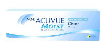 1 Day Acuvue Moist para Astigmatismo (Caja con 30 Lentes de Contacto) - Lentematic.  ¡Nuevo! 1-DAY ACUVUE® MOIST® para ASTIGMATISMO. Descubre la conveniencia de no usar soluciones ni estuches para lentes de contacto, así como también la nueva tecnología inovadora para diseño de lentes BLINK STABILIZED™y el excepcional confort de la tecnología LACREON® para la creación de un lente como ningún otro.