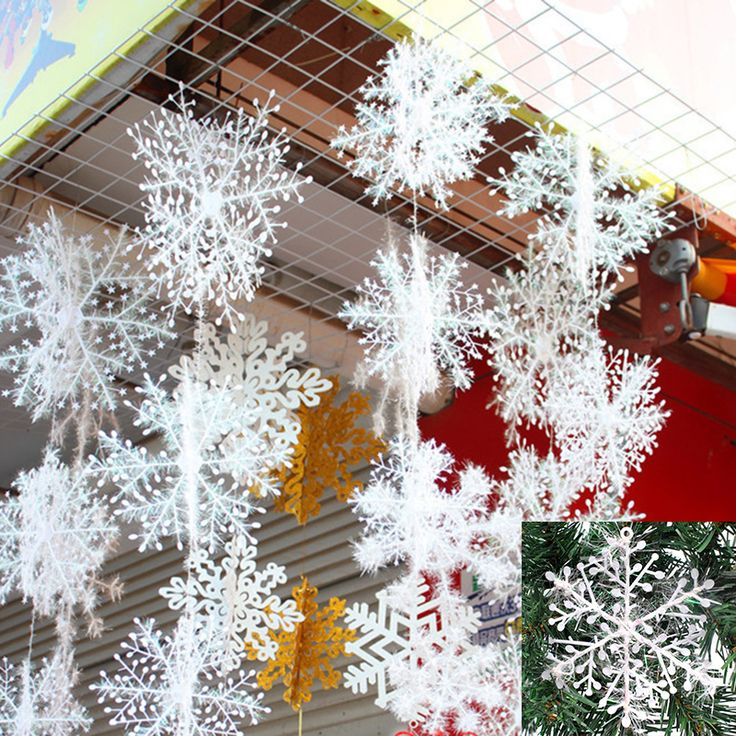 New 2016 Christmas Tree Decorations Snowflakes 30pcs 11cm White Plastic Artificial Snow Christmas Decorations #clothing,#shoes,#jewelry,#women,#men,#hats,#watches,#belts,#fashion,#style