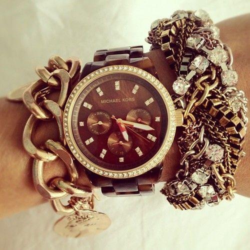 bracelets jewelry fashion style michael kors accessories blog watch blogger tortoise chains fashion blogger arm candy arm party michael kors watch