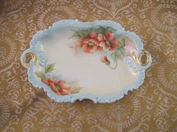 Vintage Hand Painted China Bowl Relish Dish by BellaVitaVintage