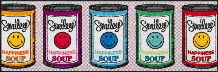 Waschbare Fußmatte Smiley - Happiness Soup - ca 60x180 cm Wash+Dry Küchenteppich Heimtextilien Küchentextilien Küchenteppiche und Matten