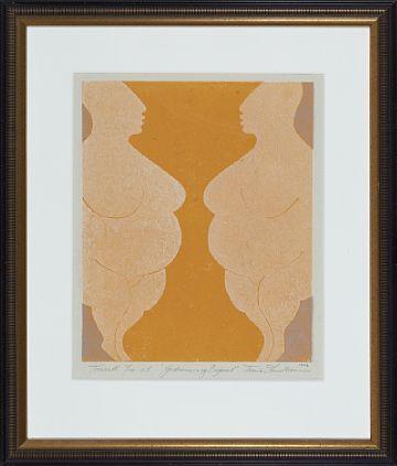 """TRINE LINDHEIM TØNSBERG 1957  """"Gudinnen og Begeret"""" 1997 Fargetresnitt på tynt papir, 61/100 e.t. 40x33 cm Signert og datert nede til høyre: Trine Lindheim 1997"""