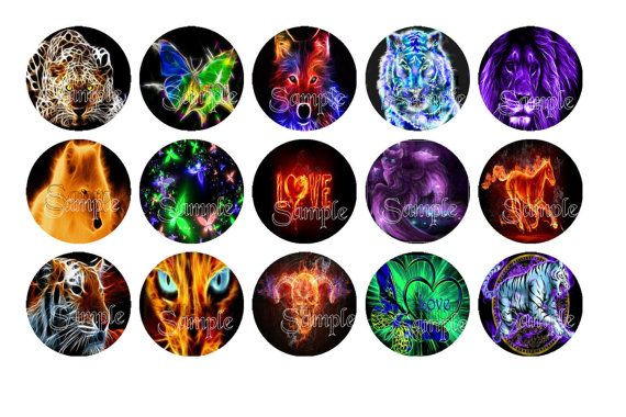 Digital Download  Glow Animals Bottle Cap by DesignsByDownload, $1.50
