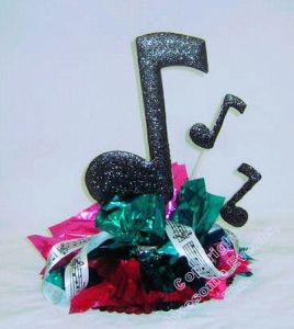 Simple music theme party centerpiece idea flower arrangements and wreaths pinterest music - Rock and roll theme party decorations ...