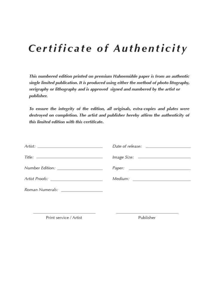 37 Certificate Of Authenticity Templates Art Car Autograph Photo Photography Templates Certificate Templates